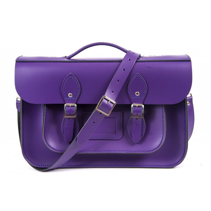 "15"" Purple English Leather Satchel - Magnetic Briefcase"