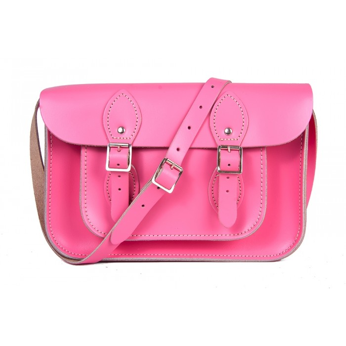 "11"" Pink English Leather Satchel -"