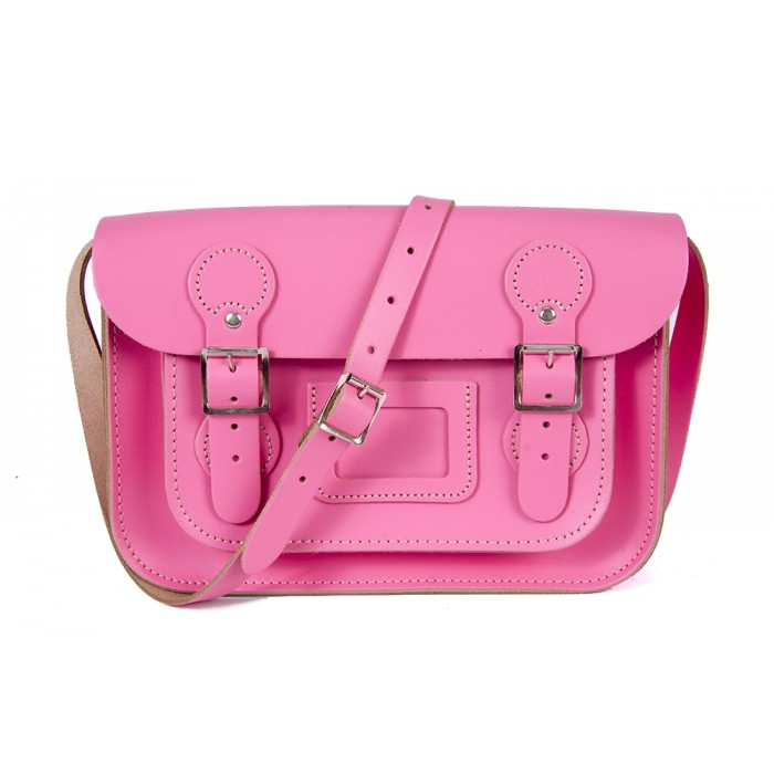 "11"" Pink English Circle Leather Satchel"