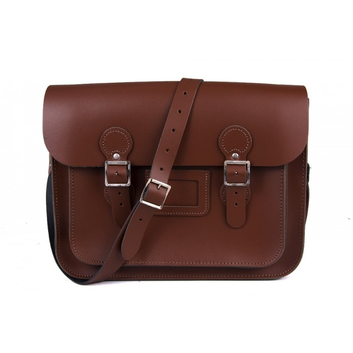 "13"" Chestnut Brown English Leather Satchel - Circle"