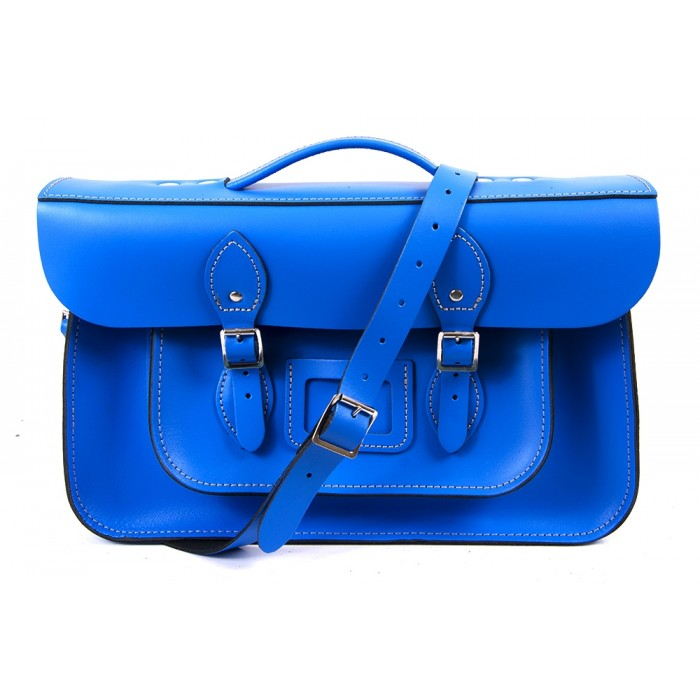 "15"" Blue English Leather Satchel - Magnetic Handleable"