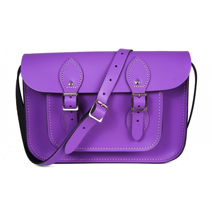 "11"" Violet English Leather Satchel"