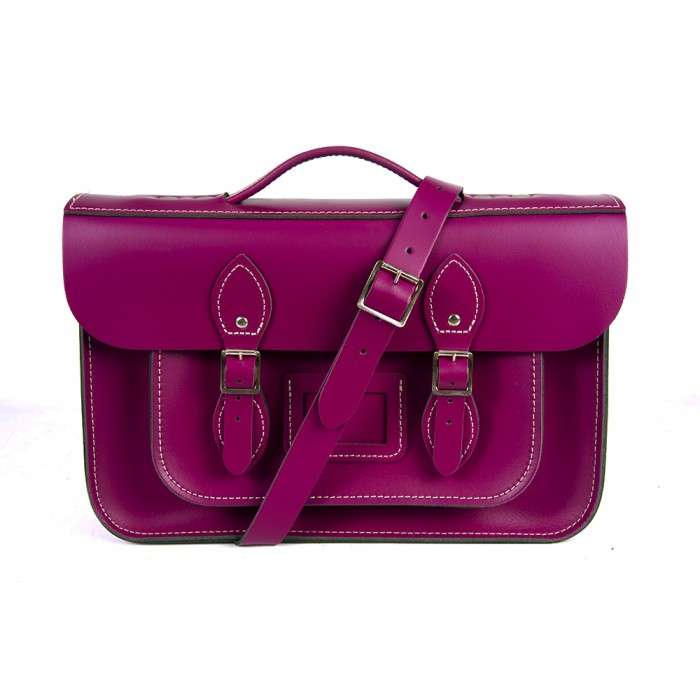 "14"" Cherry English Leather Satchel Magnetic Briefcase"