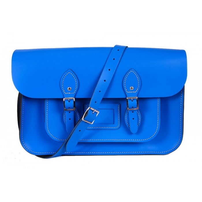 "15"" Blue English Leather Satchel - Magnetic"
