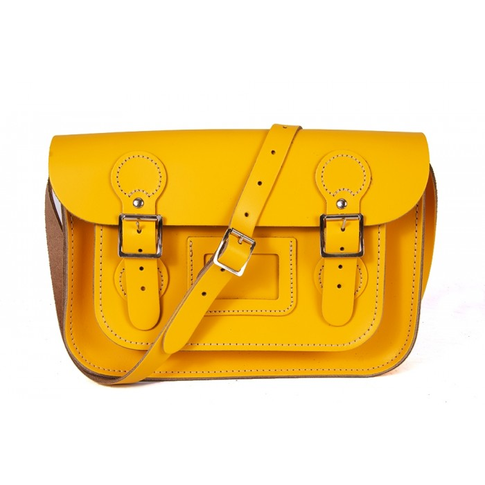 "11"" Double Yellow English Circle Leather Satchel"