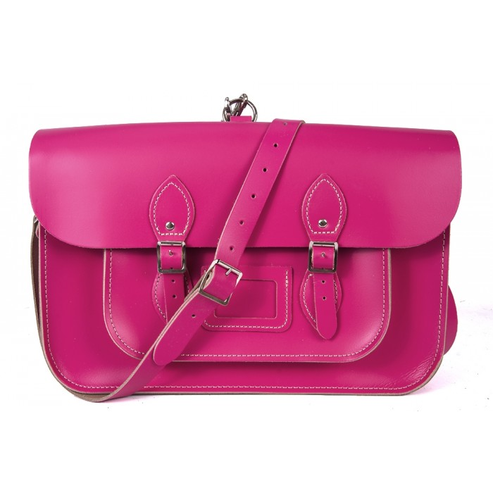 "15"" Pink English Leather Satchel - Backpack"