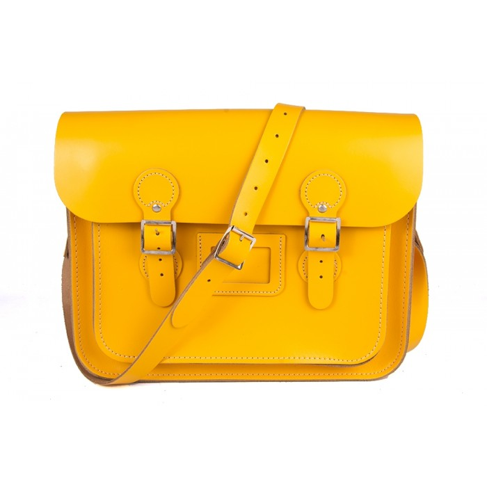 "13"" Yellow English Leather Satchel – Circle"