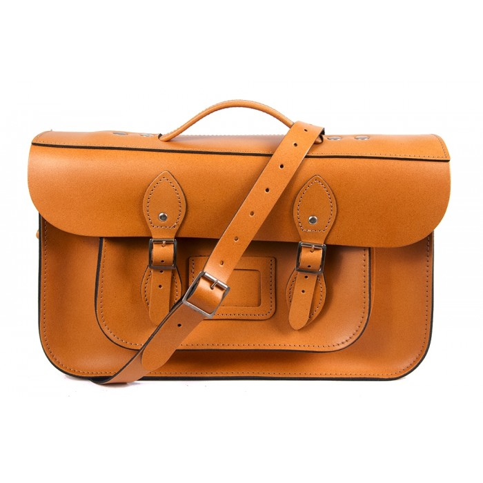 "15"" Orange English Leather Satchel - Magnetic Briefcase"