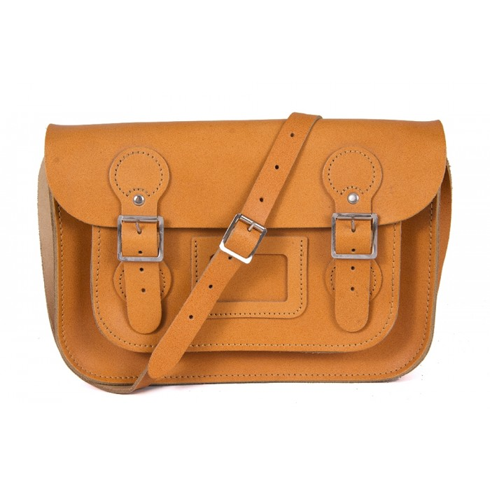 "11"" Autumn Tan English Circle Leather Satchel"