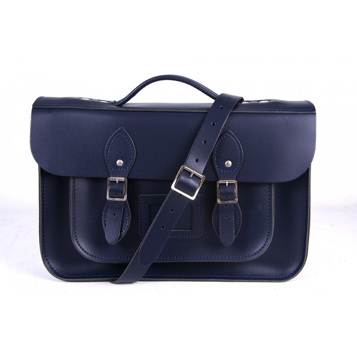 "14"" Navy Blue English Leather Satchel Magnetic Briefcase"