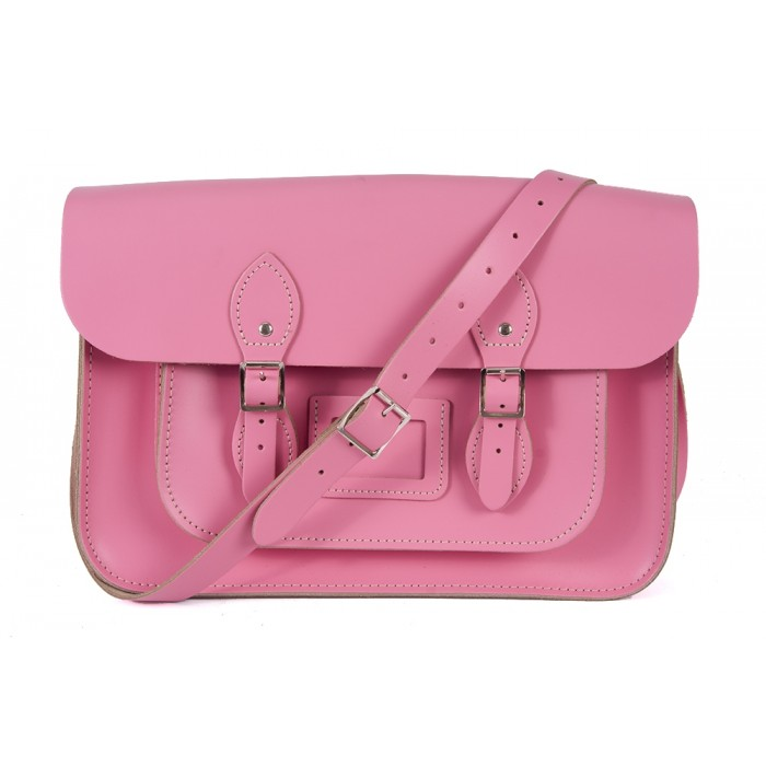 "15"" Baby Pink English Leather Satchel - Magnetic"