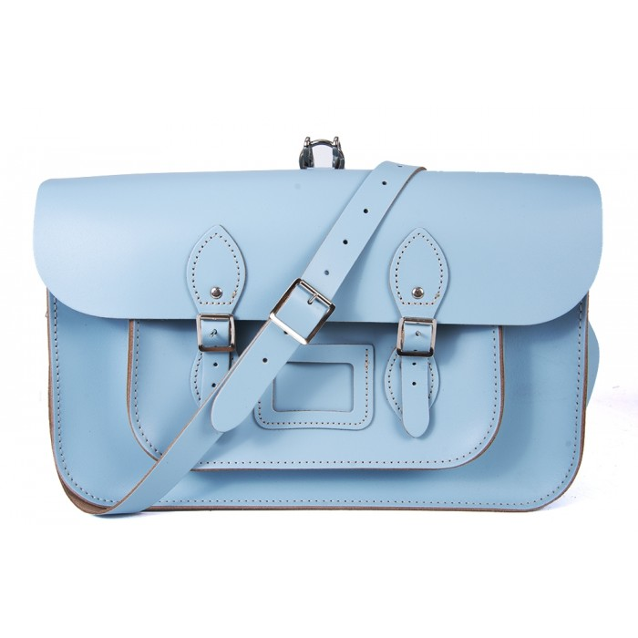 "15"" Baby Blue English Leather Satchel - Backpack"