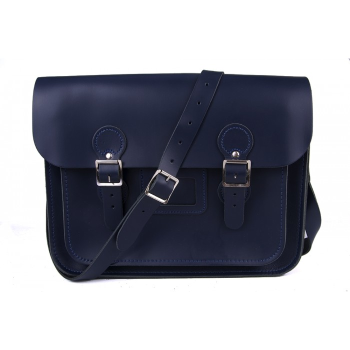 "13"" Navy Blue English Leather Satchel - Circle"