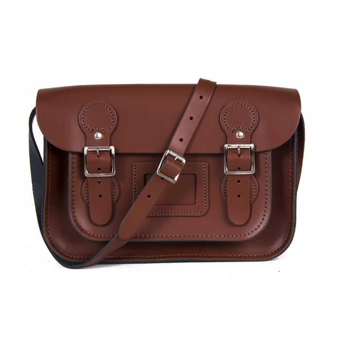 "11"" Chestnut Brown English Circle Leather Satchel"