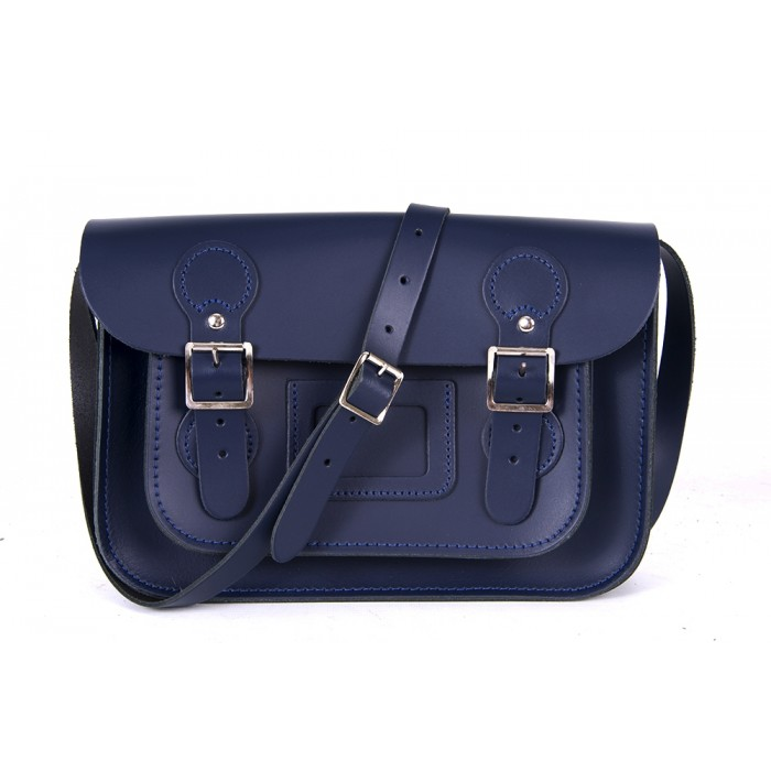 "11"" Navy Blue English Circle Leather Satchel"
