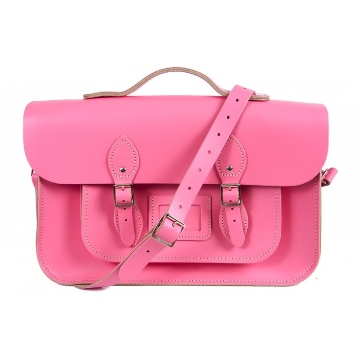 "15"" Pink English Leather Satchel - Magnetic Handleable"