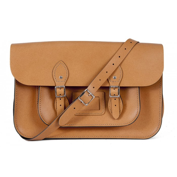 "15"" Tan English Leather Satchel - Magnetic"