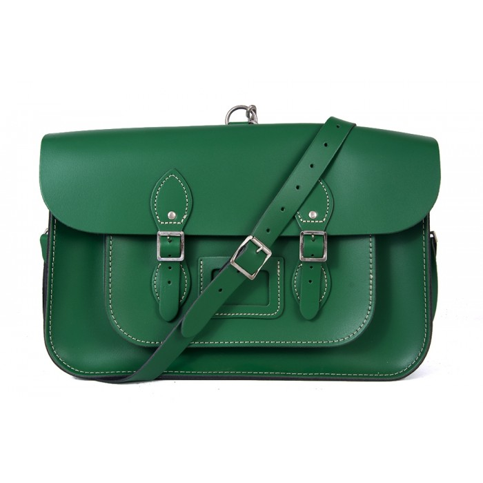 "15"" Sherwood Green English Leather Satchel - Backpack"