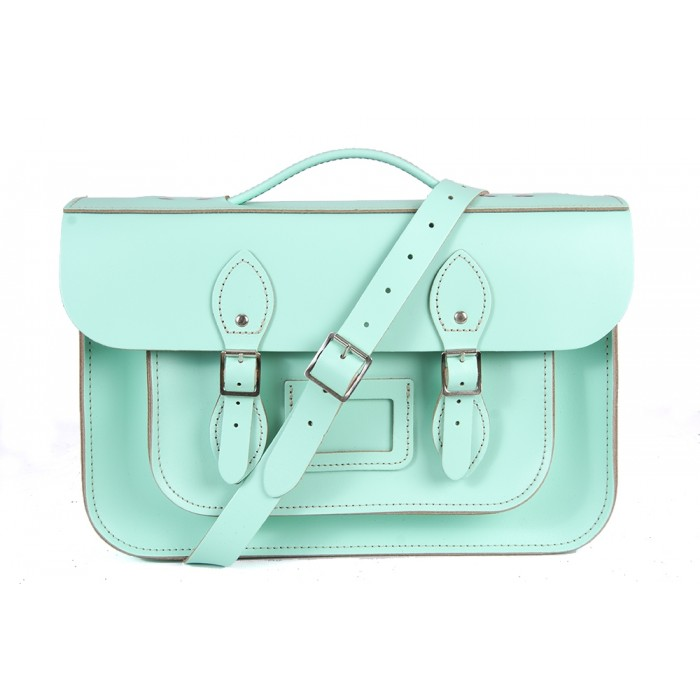 "14"" Mint Green English Leather Satchel Magnetic Briefcase"