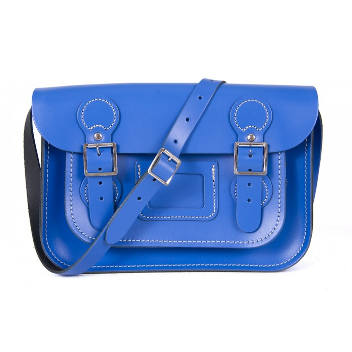 "11"" Oxford Blue English Circle Leather Satchel"