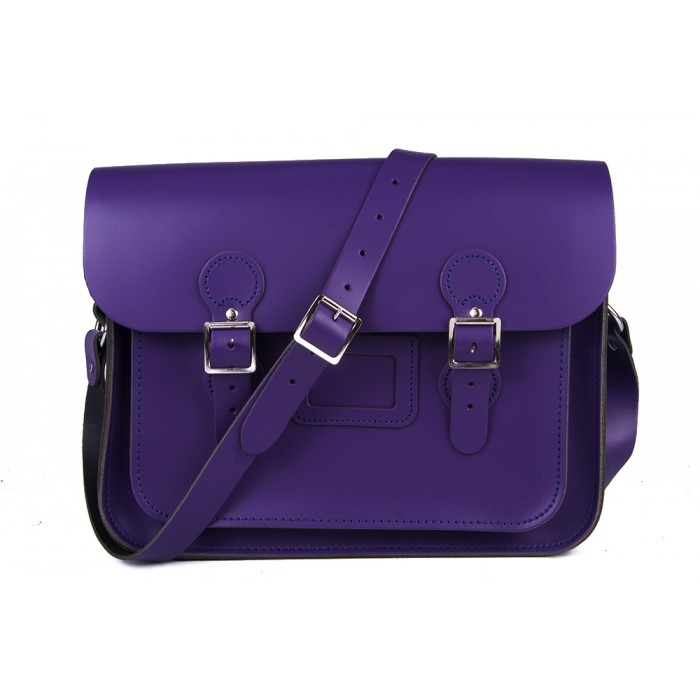 "13"" Purple English Leather Satchel - Circle"