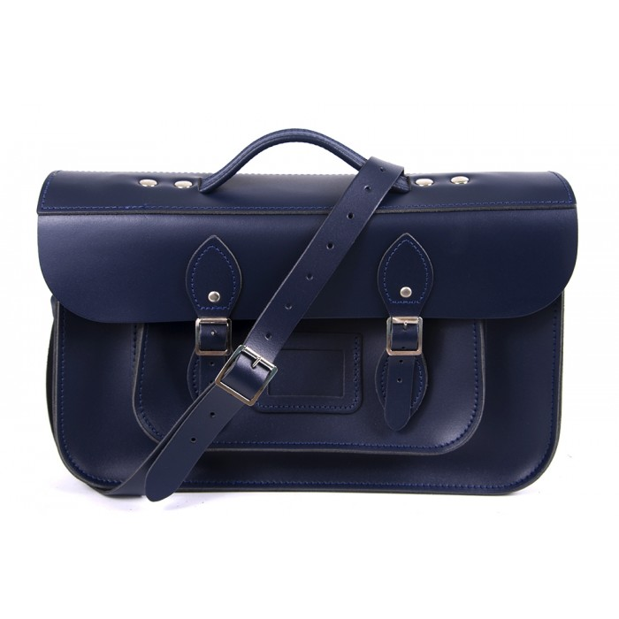 "15"" Navy Blue English Leather Satchel - Briefcase"