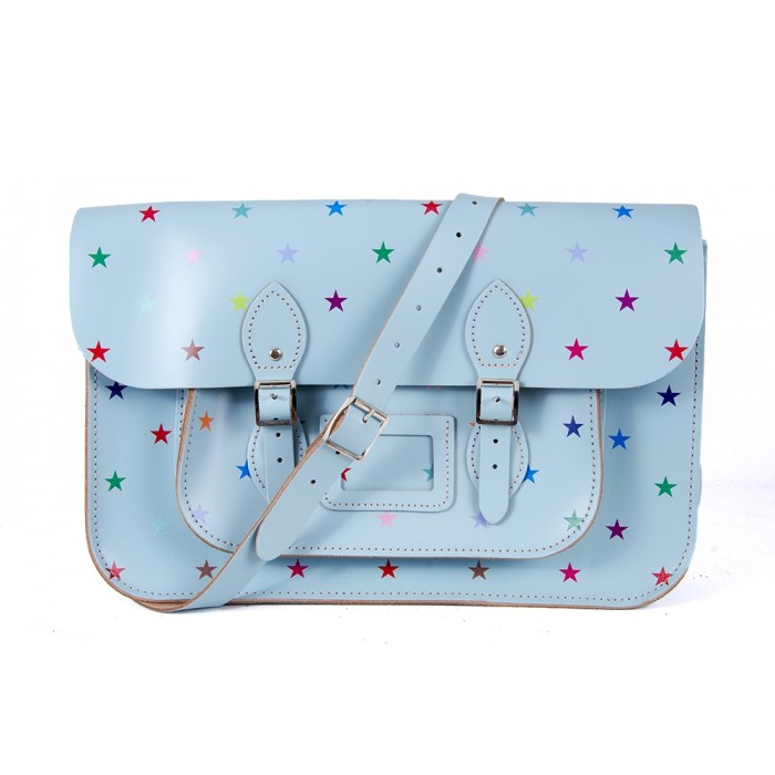 "15"" Baby Blue Multistars English Leather Satchel"
