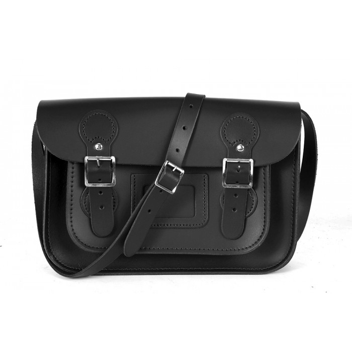 "11"" Black English Circle Leather Satchel"