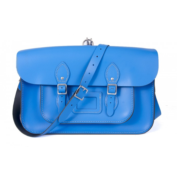 "15"" Blue English Leather Satchel - Backpack"