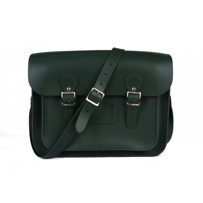 "13"" Green English Leather Satchel - Circle"