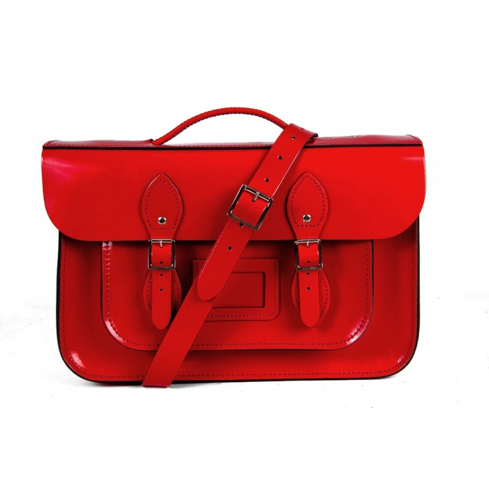 "14"" Red Patent English Leather Satchel Magnetic Briefcase"
