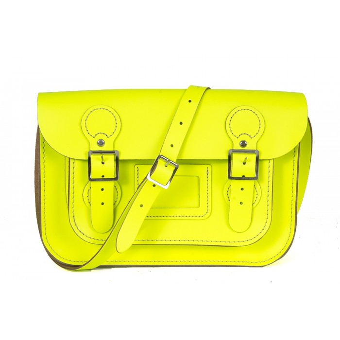 "11"" Dayglow Yellow English Circle Leather Satchel"