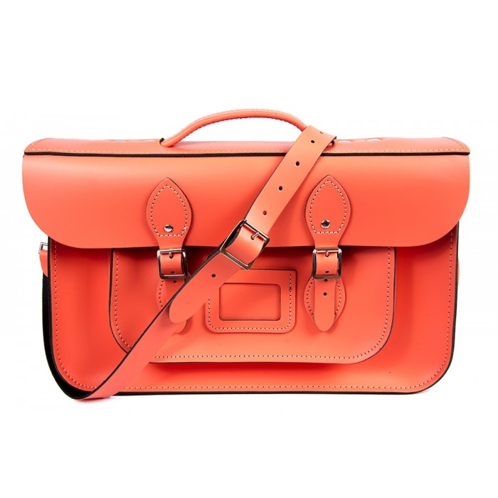 "15"" Salmon English Leather Satchel - Briefcase"
