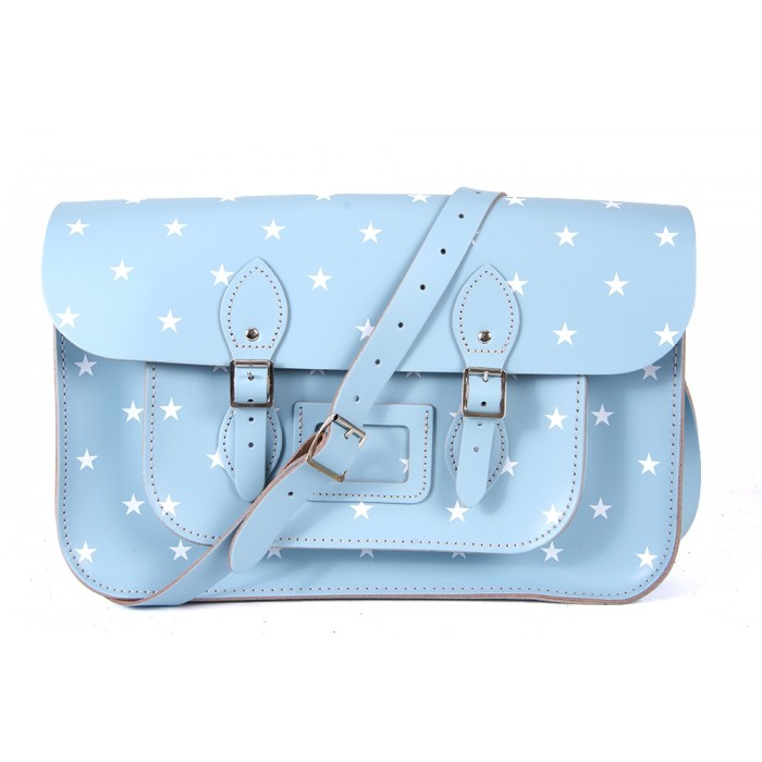 "15"" Sky Blue White-Stars English Leather Satchel"