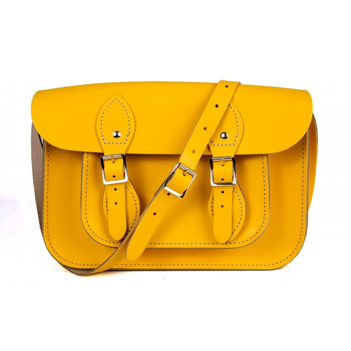 "11"" Yellow Magnetic English Leather Satchel"