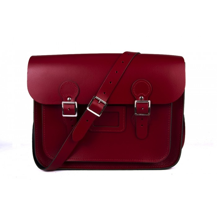 "13"" Red English Leather Satchel - Circle"