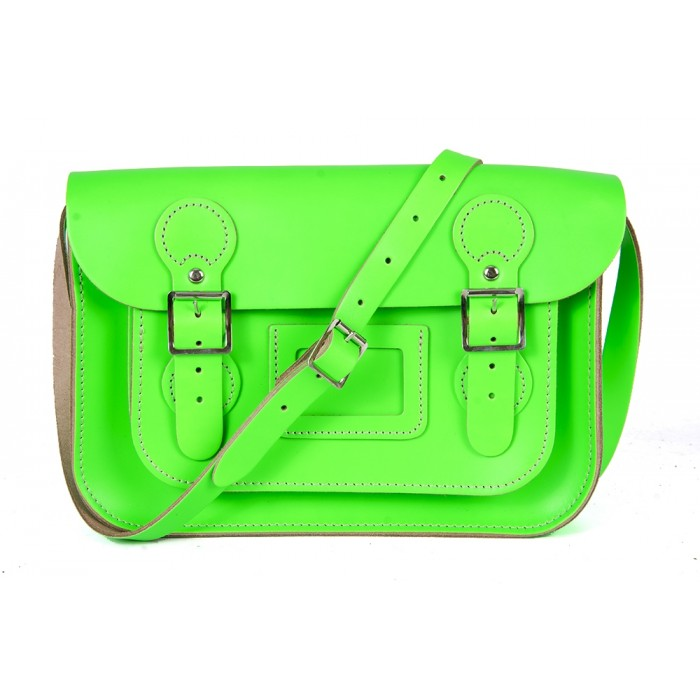 "11"" Dayglow Green English Circle Leather Satchel"