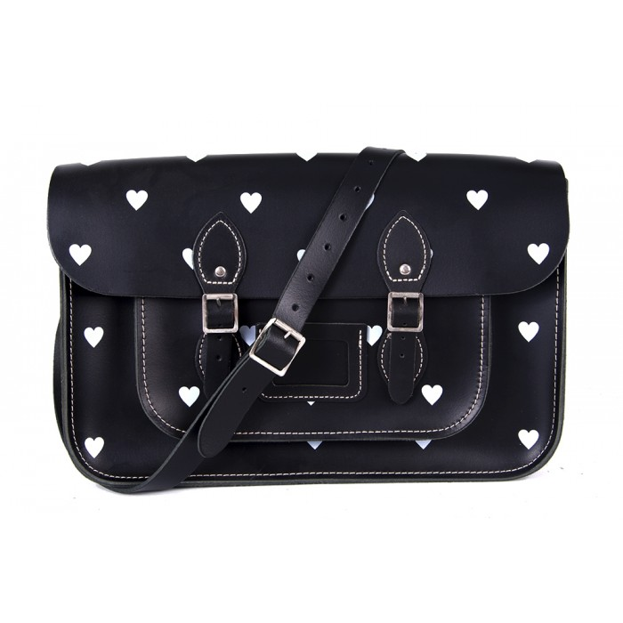 "14.5"" Black Heart English Leather Satchel"