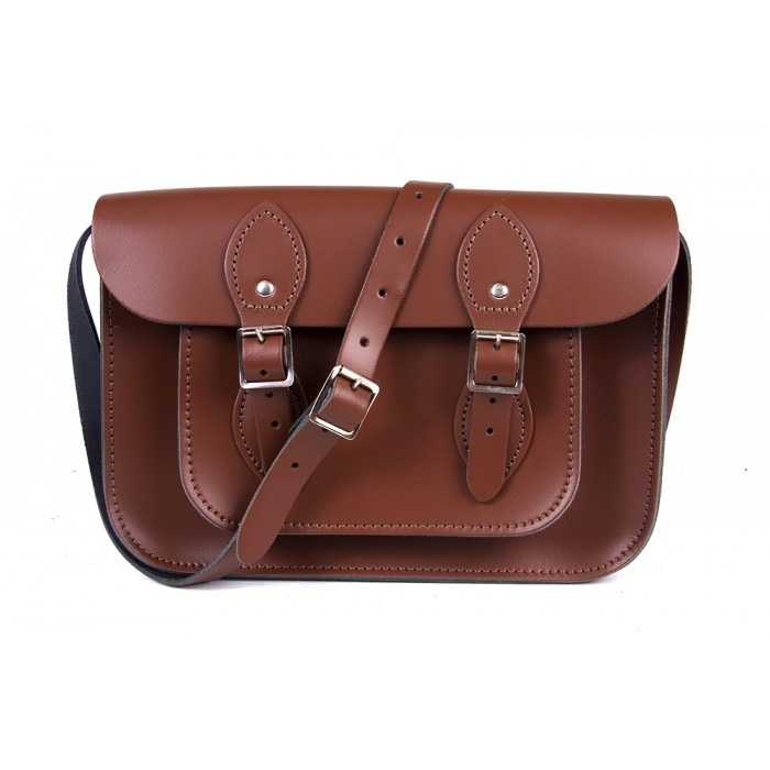 "11"" Chesnut Brown English Leather Satchel -"