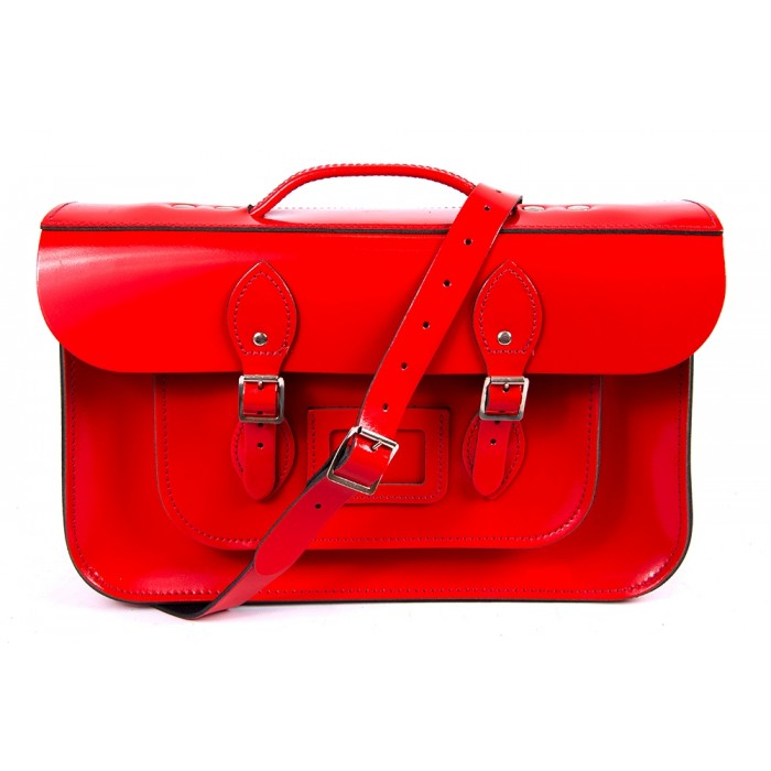 "15"" Red Patent English Leather Satchel - Briefcase"