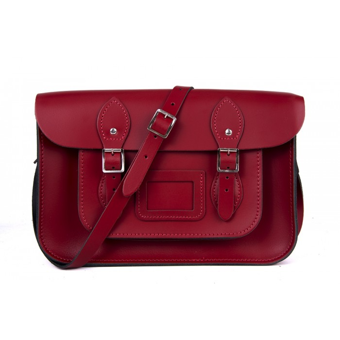 """15"""" Red English Leather Satchel"""
