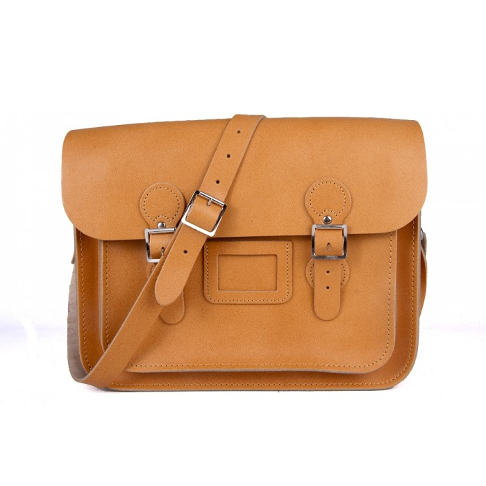 "13"" Autumn Tan English Leather Satchel - Circle"