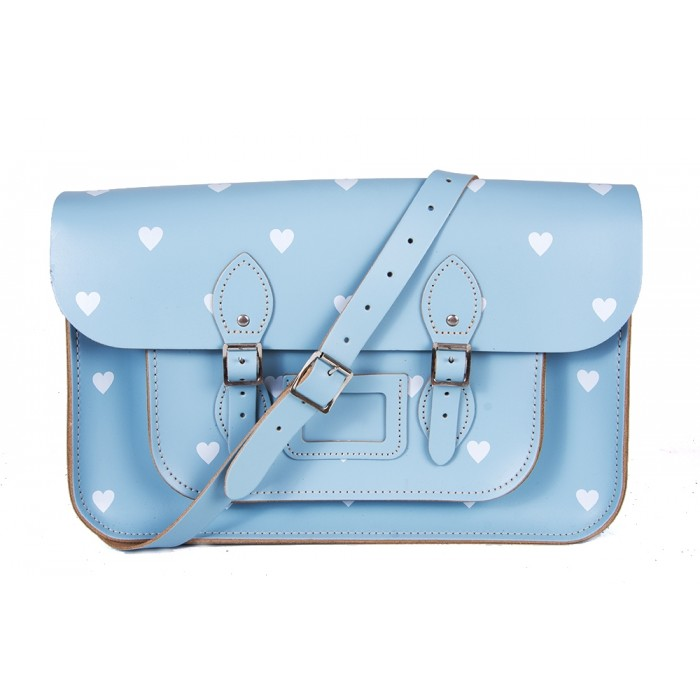 "14.5"" Baby Blue White Heart English Leather Satchel"