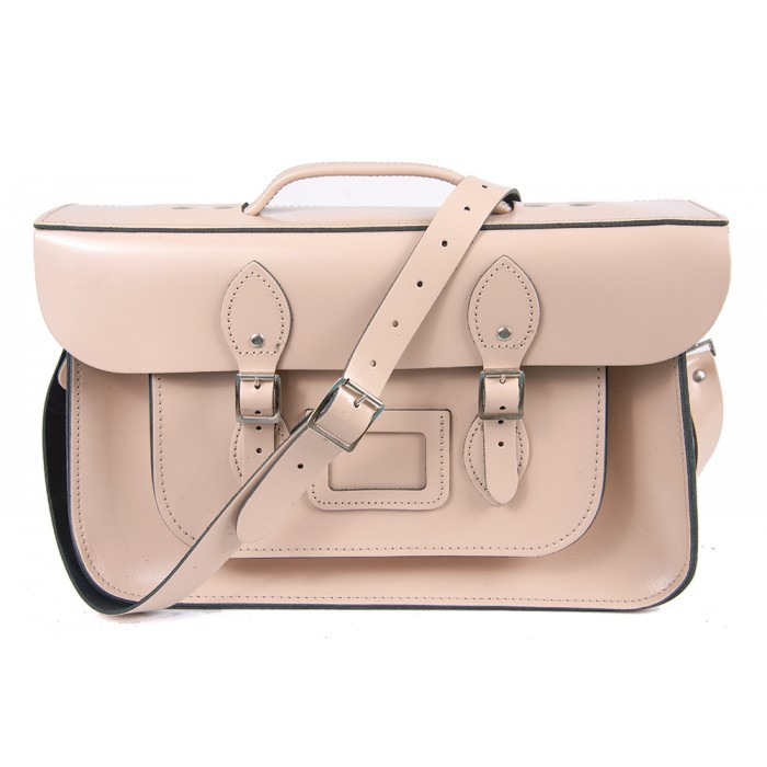 "15"" Cloud Cream English Leather Satchel - Briefcase"
