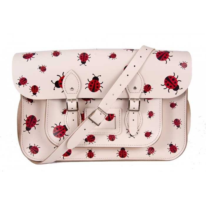 "15"" Cream Ladybird English Leather Satchel"