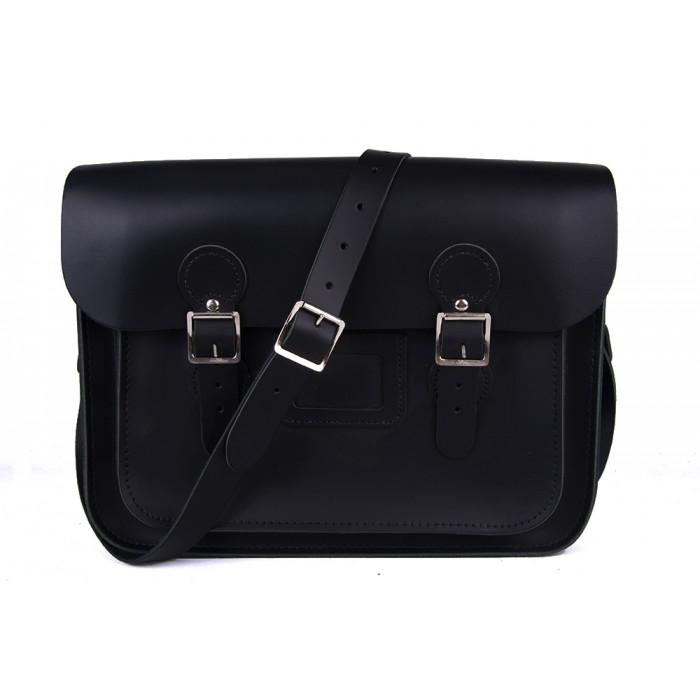 "13"" Black English Leather Satchel - Circle"