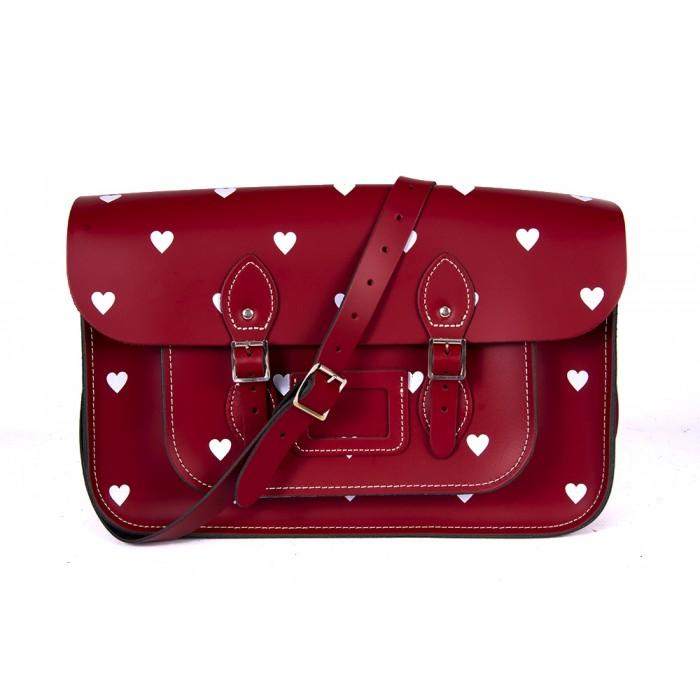 "14.5"" Red White Heart English Leather Satchel"