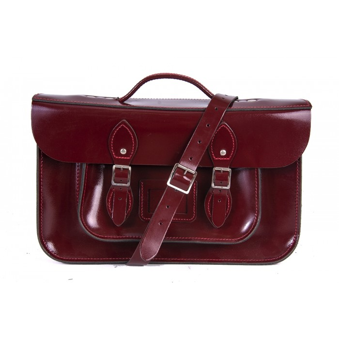 "15"" Oxblood Patent English Leather Satchel - Magnetic Briefcase"