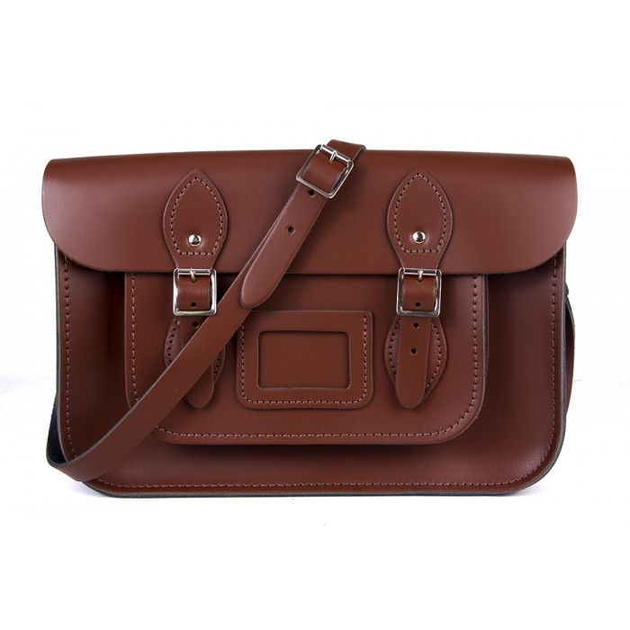 "15"" Chestnut Brown English Leather Satchel - Magnetic"