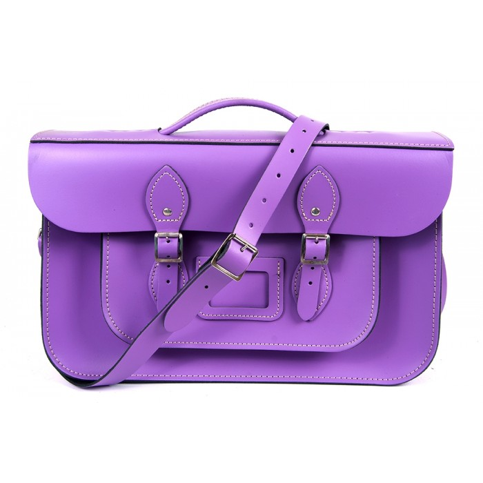 "15"" Light Purple English Leather Satchel - Briefcase"